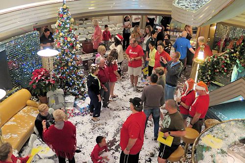 Christmas morning in the Atrium of the HAL Westerdam.