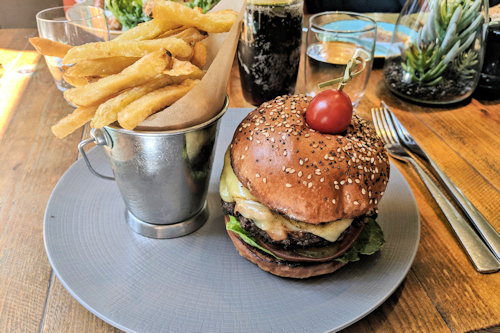 Burger and Fries at the Caxon Grill